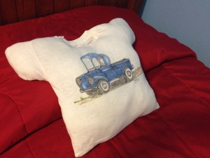 Pillow made out of a t-shirt Marshall's uncle made!